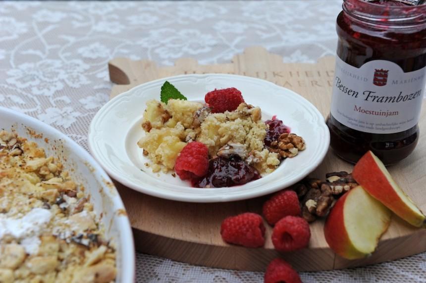 crumble Appelnotencrumble recept Marienwaerdt dessert biologisch