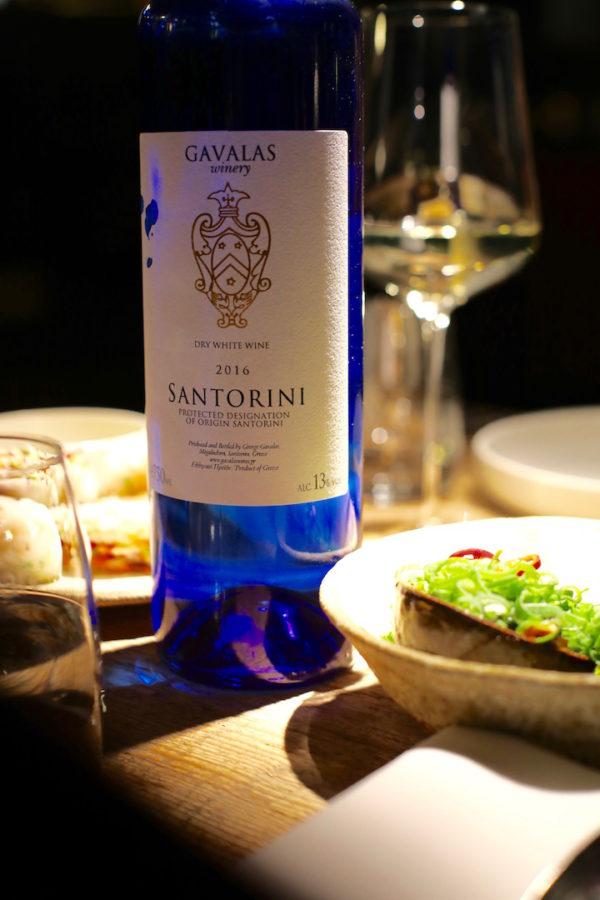 Santorini wijn bij Humphrey restaurant Brussel restaurants Brussel
