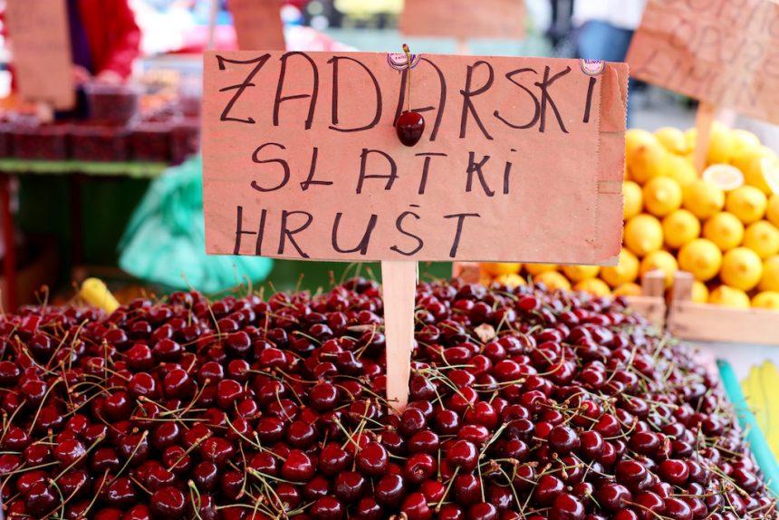 Kersen op de markt in Zagreb