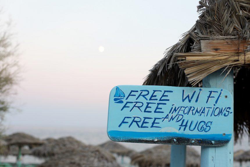 Free hugs Perissa beach Santorini
